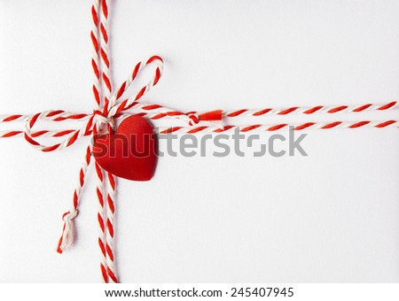 Red Heart Valentine Day Background, Wedding Invitation Card Envelope with Ribbon, Rope Tied Bow Knot. Love Greeting Mail Concept.  - stock photo