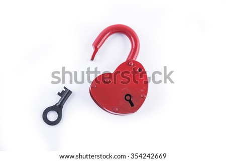 red heart valentine lock on the white isolated  - stock photo
