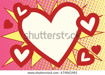 Red heart Valentines pop art background retro