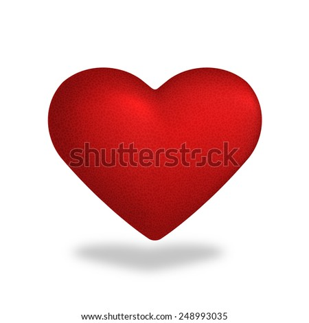Red heart vector illustration isolated on white background. - stock photo