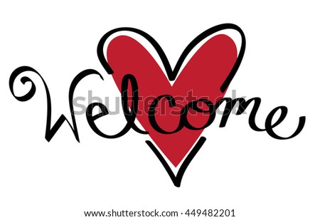 Red Heart Welcome - stock photo