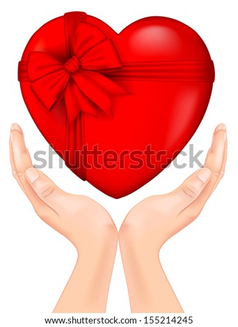 red heart with a bow in hand. Rasterized illustration. Vector version in my portfolio