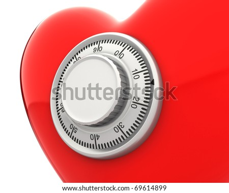 Red heart with a numeric safe lock closeup isolated on white background