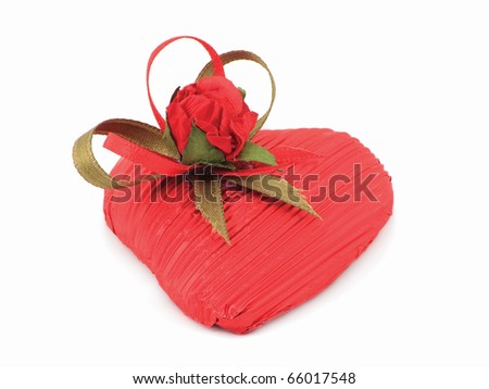 Red heart with a rose - stock photo