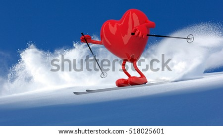 red heart with arms and legs that is skiing flat style, 3d illustration