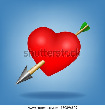 Red heart with arrow. Raster version - stock photo