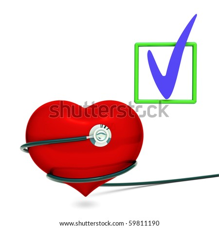 Red heart with black Stethoscope - stock photo