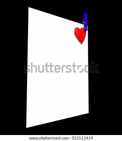 Red heart with clip on white page - stock photo