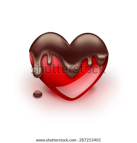 red heart with dripping chocolate on white