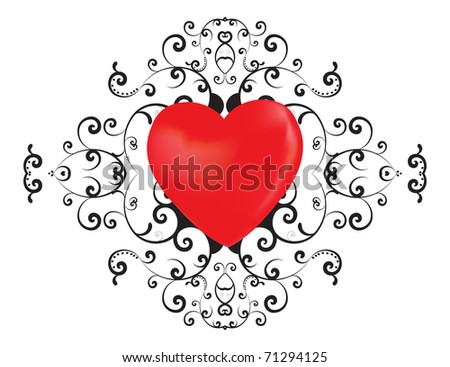 Red heart with floral ornament
