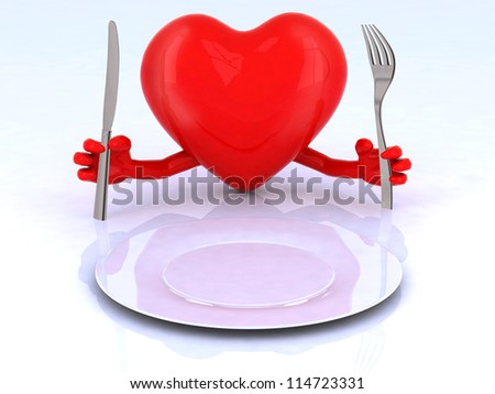 red heart with hands and utensils in front of an empty plate - stock photo