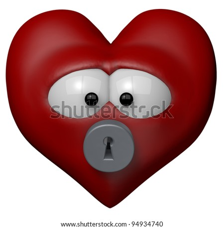 red heart with keyhole - 3d cartoon illustration - stock photo