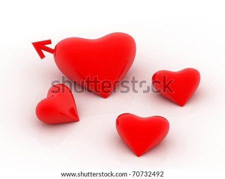 Red heart with male symbol - stock photo