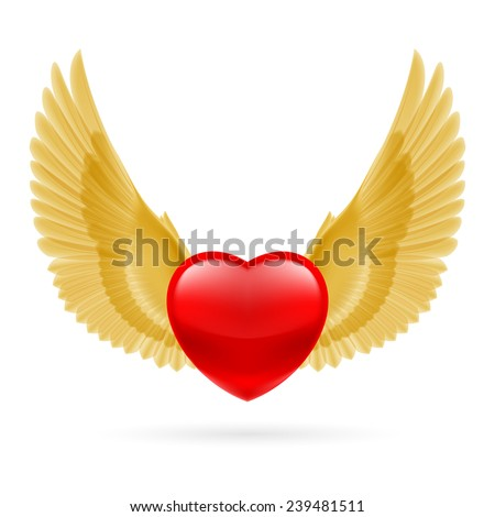 Red heart with raised golden yellow wings.  - stock photo
