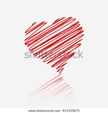 Red heart with reflection on white background. - stock photo