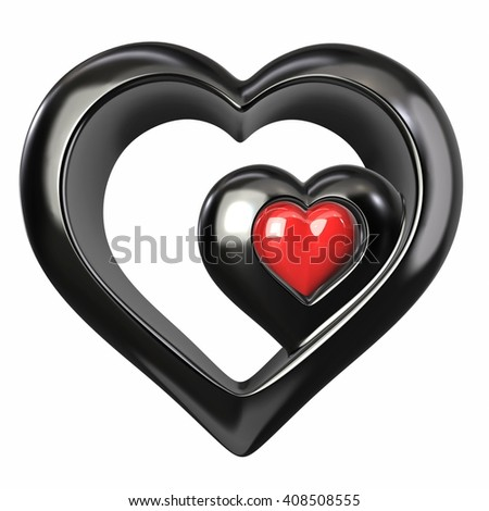 Red heart with reflections isolated on white background. 3d illustration - stock photo