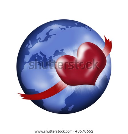 Red heart with ribbon arms hugging planet earth. - stock photo