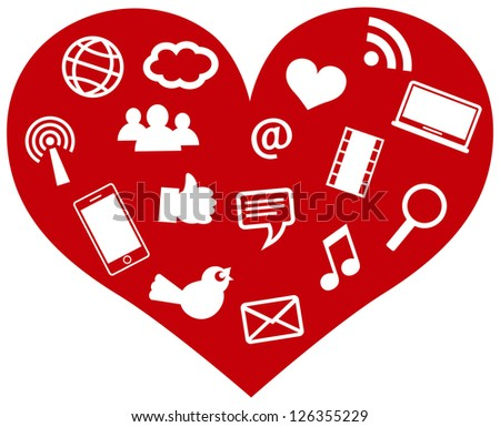 Red Heart with Social Media Icons and Symbols Isolated on White Background Illustration Raster Vector - stock photo