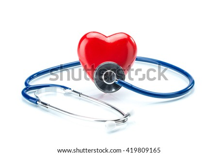 Red heart with stethoscope isolated on white background, healthcare - stock photo
