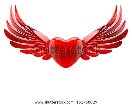 red heart with wings - stock photo