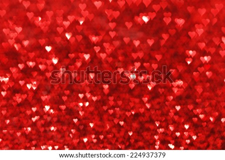 Red hearts bokeh valentines day love background - stock photo