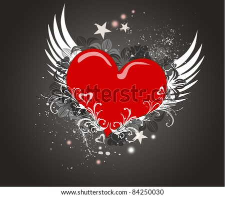 Red hearts decorated with floral ornaments on the  background - stock photo