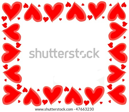 red hearts frame - stock photo