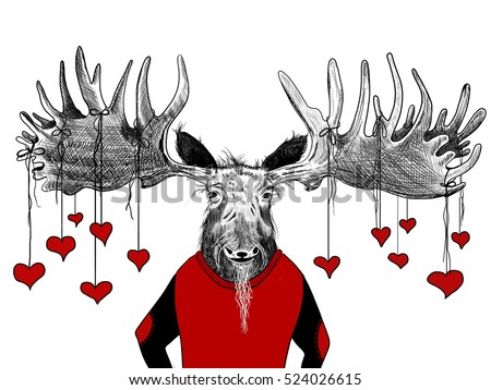 red hearts hanging from funny hand drawn moose with huge antlers and scruffy beard, fun valentines day card or website header design, boyfriend or husband on valentines day, wedding proposal or date