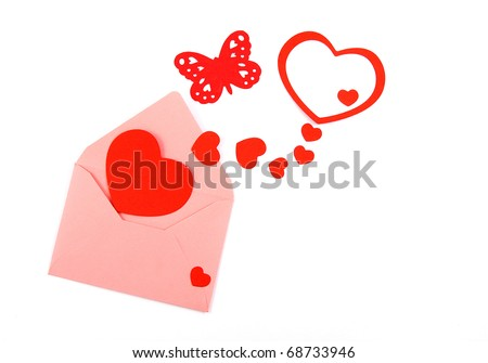 red hearts in pink envelope on white background