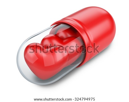 Red hearts in the medical capsule. Valentines day concept. Modern medical technologies. - stock photo