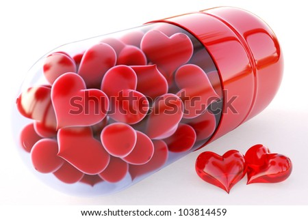 red hearts inside the red capsule. isolated on white. - stock photo