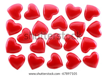 Red hearts is isolated on a white background - stock photo
