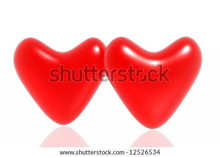 Red hearts isolated in white background