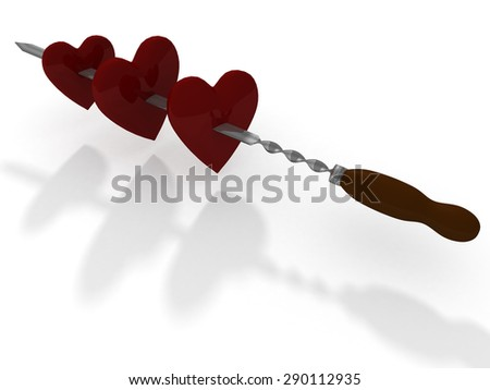 red hearts on steel skewer - stock photo