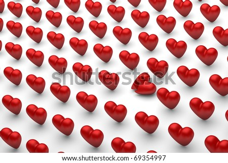 Red hearts on white. One is broken. - stock photo