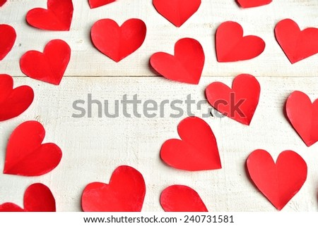 Red hearts.paper cut out.Image of Valentines day