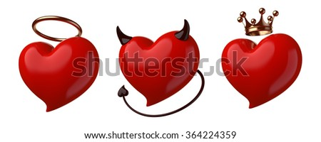 Red hearts set isolated on white.