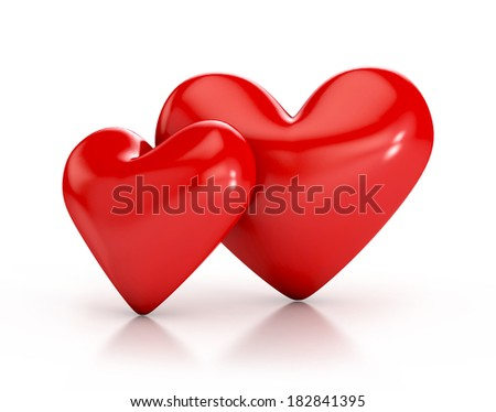 Red hearts with glossy reflections isolated on white background. 3d illustration - stock photo