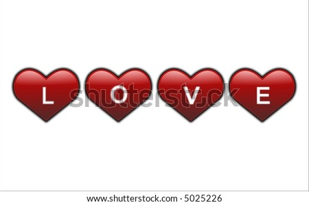 red hearts with love letters on white background - stock photo