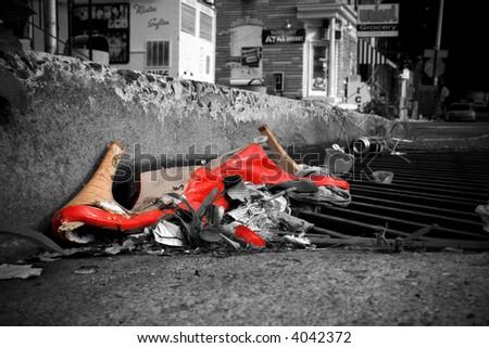 red heels b&w manipulated - stock photo