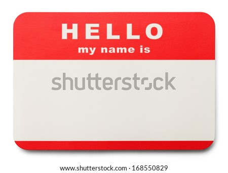 Red Hello My Name Is Tag with Copy Space, Isolated on White Background. - stock photo