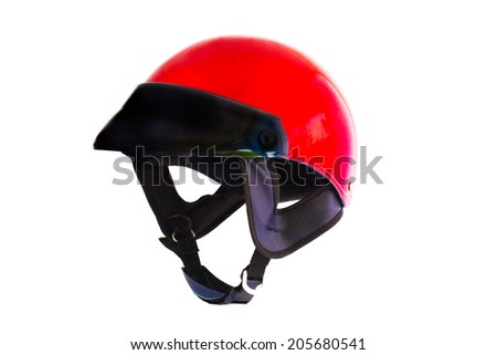 Red helmet isolated on white background. - stock photo