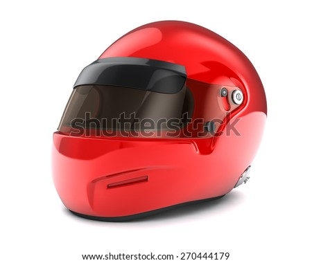 Red  helmet Isolated on white background - stock photo