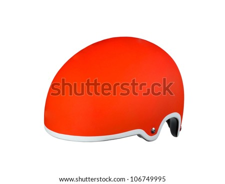 Red helmet on a white background - stock photo