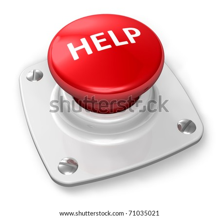 Red help button - stock photo