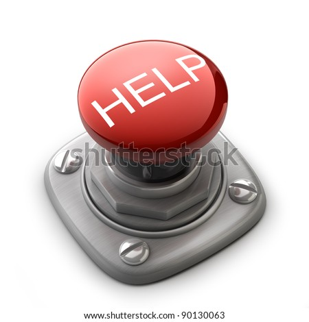 Red help button Isolated High resolution. 3D image