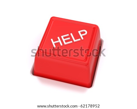 Red help key on white background - stock photo