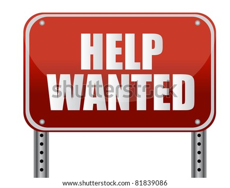 red help wanted sign illustration design - stock photo