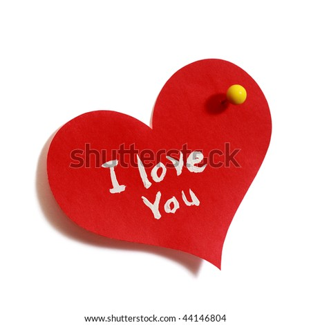 red hert-shaped sticker with I love you text and yellow pin on white background - stock photo