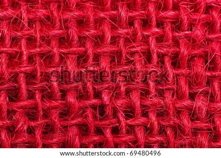 Red hessian macro background - stock photo